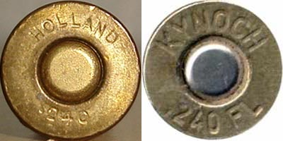 .240 APEX Belted Nitro Express Holland & Holland (слева) .240 Apex Flanged Nitro Express Holland & Holland (справа)